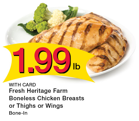 Fresh Heritage Farm Boneless Chicken Breasts or Thighs or Wings, Bone-In | 1.99 lb