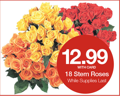 18 Stem ROses 12.99 With Card