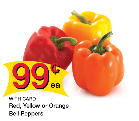 Red, Yellow or Orange Bell Peppers | 99¢ ea