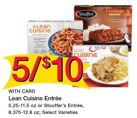Lean Cuisine Entrée 5.25-11.5 oz or Stouffer's Entrée, 8.375-12.8 oz; Select Varieties | 5/$10