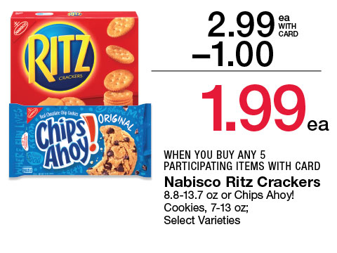 Nabisco Ritz Crackers 8.8-13.7 oz or Chips Ahoy! Cookies, 7-13 oz; Select Varieties | 2.99 - $1 = 1.99 WHEN YOU BUY ANY 5 PARTICIPATING ITEMS WITH CARD
