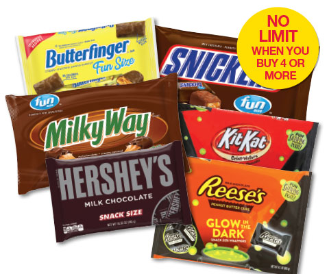 Butterfinger, Snickers or Reese's Fun or Snack Size Candy Select Varieties, 9-11.6 oz | 1.99 ea when you buy 4; no limit