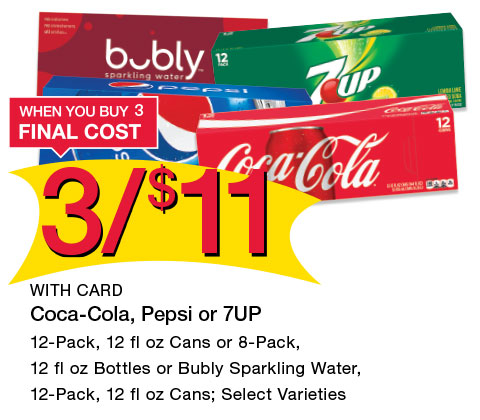 Coca-Cola, Pepsi or 7UP 12-Pack, 12 fl oz Cans or 8-Pack, 12 fl oz Bottles or Bubly Sparkling Water, 12-Pack, 12 fl oz Cans; Select Varieties | 3/$11