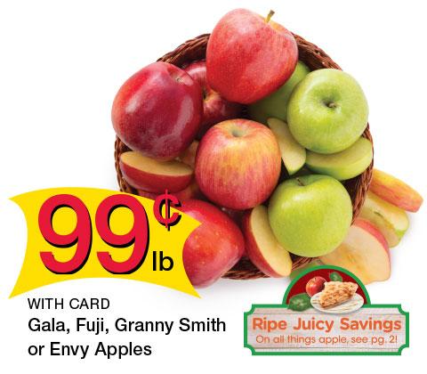 Gala, Fuji, Granny Smith or Envy Apples| 99¢ lb