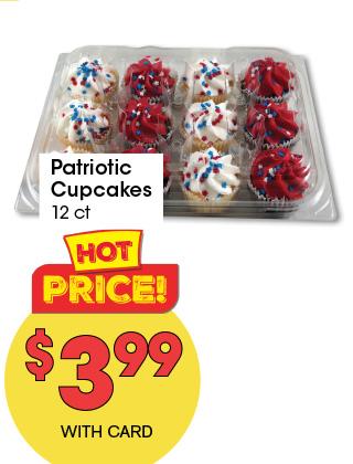 Patriotic Cupcakes 12 ct   3.99