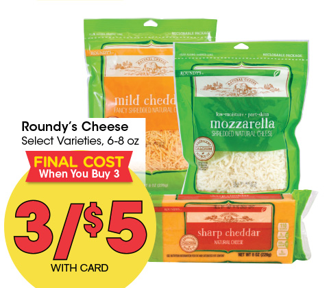Roundy's Cheese Select Varieties, 6-8 oz | 3/$5 FINAL COST WHEN YOU BUY 3