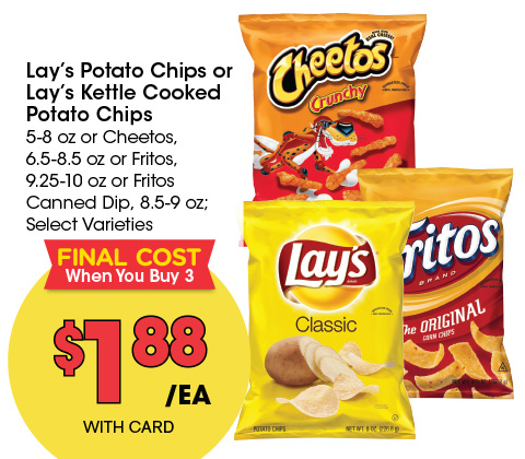 Lay's Potato Chips or Lay's Kettle Cooked Potato Chips | 1.88 ea. final cost when you buy 3