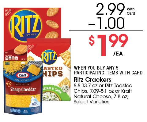 Ritz Crackers 8.8-13.7 oz or Ritz Toasted Chips, 7.09-8.1 oz or Kraft Natural Cheese, 7-8 oz; Select Varieties   2.99 - 1 = 1.99 ea